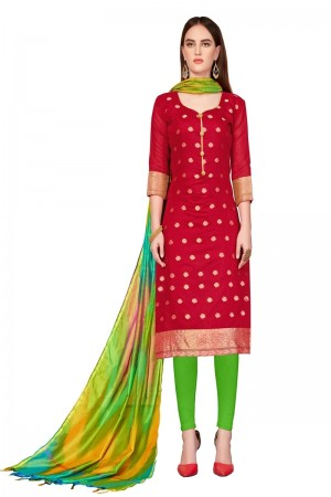 Red Banarasi dress material