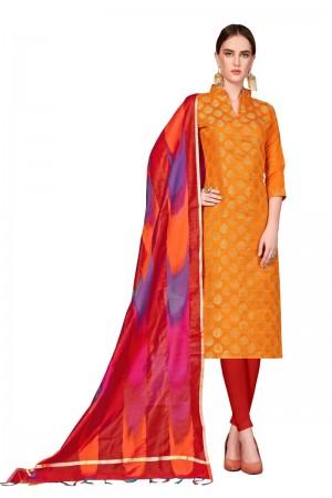Orange Banarasi dress material