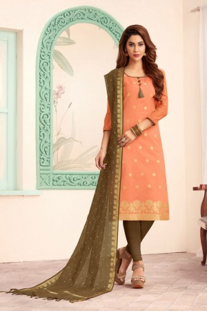 Peach Banarasi dress material