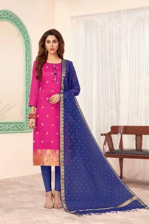 Pink Banarasi dress material