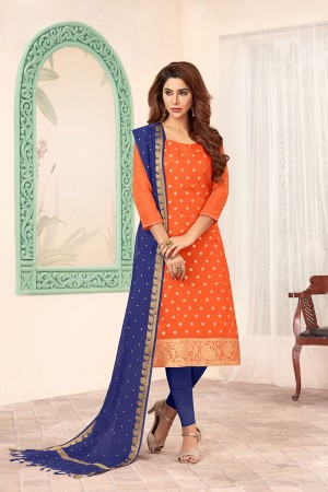 Orange Banarasi dress material