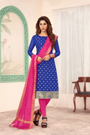 Blue Banarasi dress material