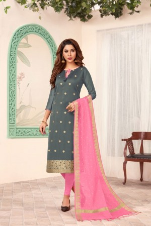 Grey Banarasi dress material