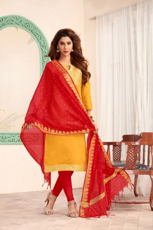 Yellow Banarasi dress material