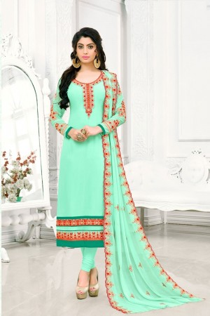 Turquoise Georgette dress material