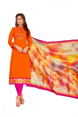 Orange Slub Cotton dress material