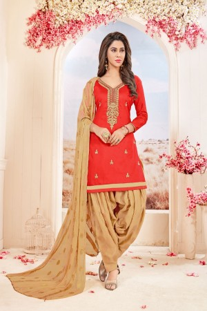 Red Glace Cotton dress material
