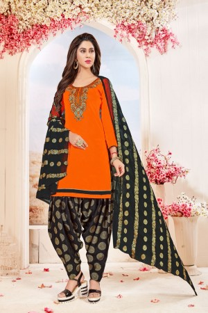 Orange Glace Cotton dress material
