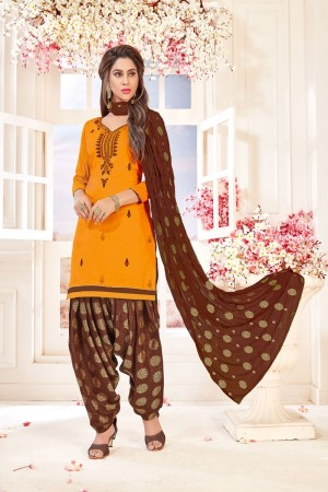 Mustard Glace Cotton dress material