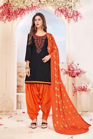 Black Glace Cotton dress material