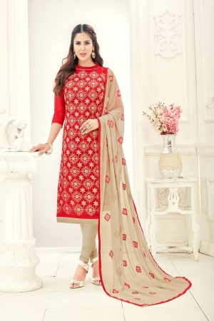 Red Chanderi dress material