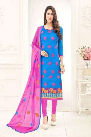 Blue Chanderi dress material