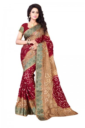 Stupendous Cotton Silk Beige and Maroon Bandhej Women's Bandhani Saree