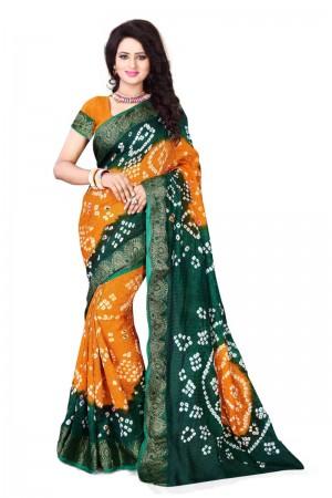 Blissful Cotton Silk Green and Mustard Bandhej Women's Bandhani Saree