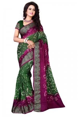 Sparkling Cotton Silk Meganta and Mehandi Bandhej Women's Bandhani Saree