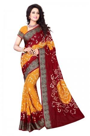 Charismatic Cotton Silk Maroon and Mustard Bandhej Women's Bandhani Saree