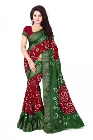 Vibrant Cotton Silk Mehandi and Maroon Bandhej Women's Bandhani Saree