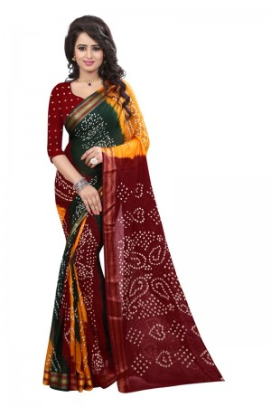 Picturesque Pure Cotton Multi Bandhej Women's Bandhani Saree