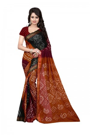 Beautiful Pure Cotton Multi Bandhej Women's Bandhani Saree