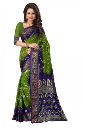 Refreshing Cotton Silk Parot and Blue Bandhej Women's Bandhani Saree