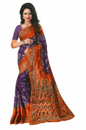 Royal Cotton Silk Mustard and Purple Bandhej Women's Bandhani Saree