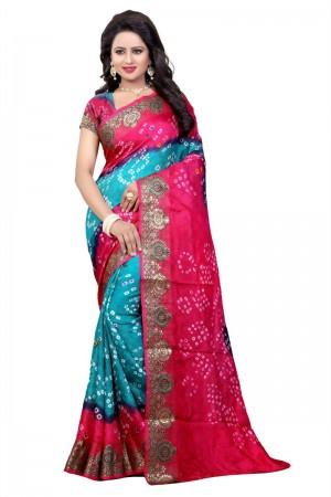 Voguish Cotton Silk Pink and Firozi Bandhej Women's Bandhani Saree