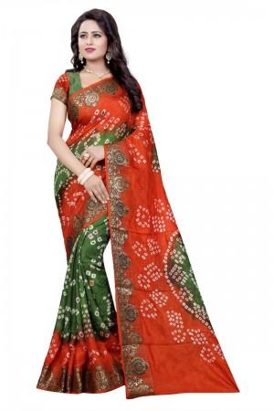 Graceful Cotton Silk Parot and Fanta Bandhej Women's Bandhani Saree