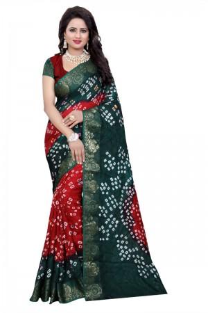 Fabulous Cotton Silk Rama and Red Bandhej Women's Bandhani Saree