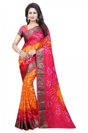 Captivating Cotton Silk Mustard and Pink Bandhej Women's Bandhani Saree