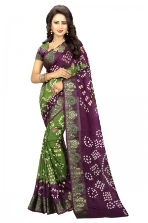 Luscious Cotton Silk Meganta and Mehandi Bandhej Women's Bandhani Saree