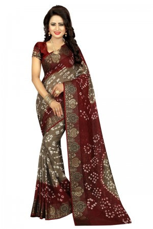 Glitzy Cotton Silk Maroon and Rush Bandhej Women's Bandhani Saree