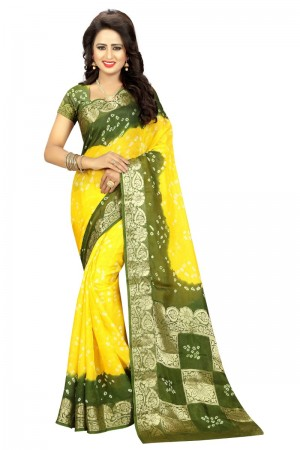 Distinctive Cotton Silk Mahendi and Yellow Bandhej Women's Bandhani Saree