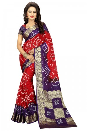 Engrossing Cotton Silk Purple and Red Bandhej Women's Bandhani Saree
