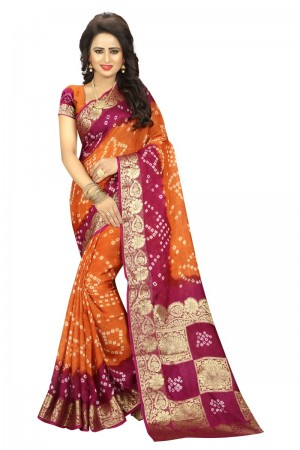Astounding Cotton Silk Pink and Mustard Bandhej Women's Bandhani Saree