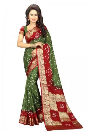 Ravishing Cotton Silk Maroon and Mahendi Bandhej Women's Bandhani Saree