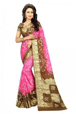 Dreamy Cotton Silk Rush and Pink Bandhej Women's Bandhani Saree
