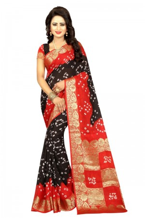 Divine Cotton Silk Red and Black Bandhej Women's Bandhani Saree