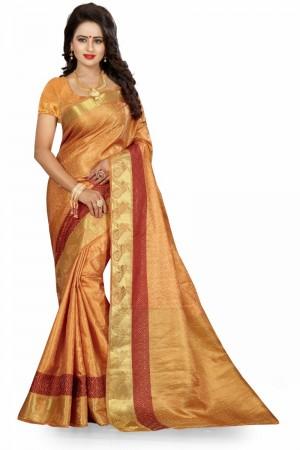 Amiable Banarasi Chiku Color jacquard Women's Saree