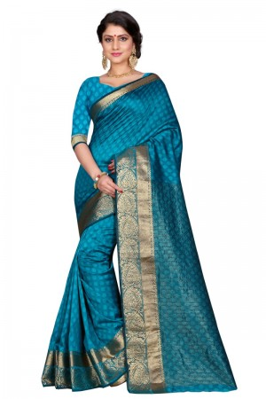 Delightful Cotton Rama Color jacquard Women's Saree