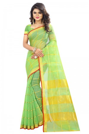 Dynamic Latest Women thnic Pista Color Manipuri Coton Silk Banarasi Saree