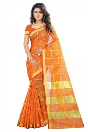 Outstanding Latest Women thnic Orange Color Manipuri Coton Silk Banarasi Saree