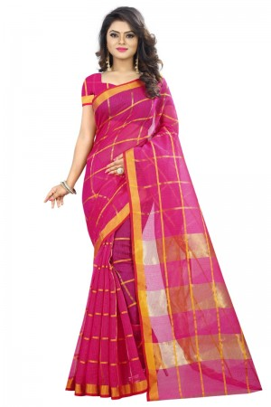 Delusive Latest Women thnic Pink Color Manipuri Coton Silk Banarasi Saree