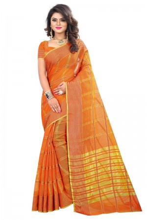 Exquisite Latest Women thnic Orange Color Manipuri Coton Silk Banarasi Saree