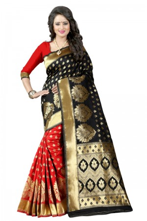 Enchanting Latest Women thnic  Black Red Color Manipuri Coton Silk Banarasi Saree