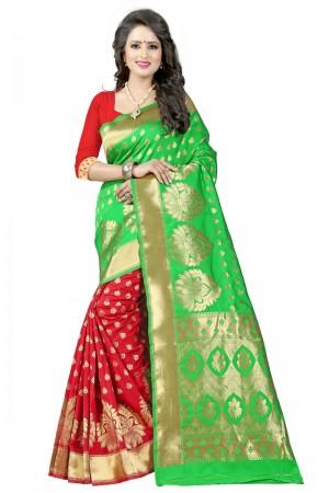 Ethereal Latest Women thnic Green Red Color Manipuri Coton Silk Banarasi Saree