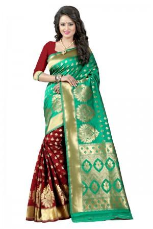 Amazing Latest Women thnic Rama Maroon Color Manipuri Coton Silk Banarasi Saree