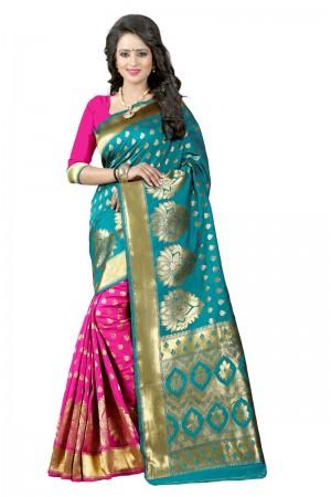 Appealing Latest Women thnic Rama Pink Color Manipuri Coton Silk Banarasi Saree