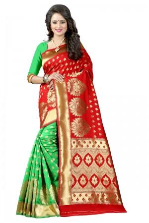Applaudable Latest Women thnic Red Green Color Manipuri Coton Silk Banarasi Saree