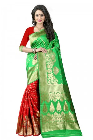 Modest Latest Women thnic Green Red Color Manipuri Coton Silk Banarasi Saree