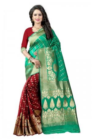 Unique Latest Women thnic Rama Maroon Color Manipuri Coton Silk Banarasi Saree